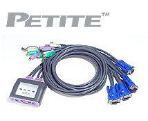 ATEN 4-port KVM PS/2 mini, audio, 1.2m kabely