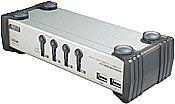 ATEN 4-port KVMP USB+PS/2, usb hub, audio, 1.2m kabely CS-1734AC