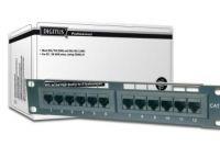 """DIGITUS 10"""" CAT 5e patch panel, stíněný, 12-port RJ45, 8P8C, LSA, 1U, černý RAL 9005"""