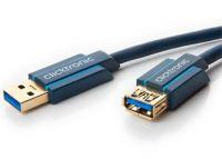 ClickTronic HQ OFC prodlužovací USB3.0 kabel, A-A, zlacené konektory, 3m
