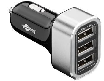 goobay Napájecí 12-24V autoadaptér na 3x USB, 5.5A černý, ID Chip pro rychlé nabíjení