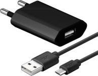 Zvětšit fotografii - goobay Napájecí a nabíjecí adaptér 230V na USB, ultra slim, 1A s USB micro kabelem 1m ,černý