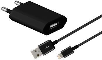 goobay Nabíjecí ultra slim adaptér 230V na USB 1A a Lightning iPhone kabel 1m černý