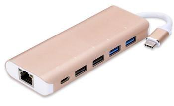 PremiumCord USB3.1 - Gigabit RJ45 adapter + hub 4x USB2.0 female + 1x PD