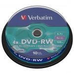 DVD-RW 4x Verbatim AZO 4.7GB 10ks cakebox 43552
