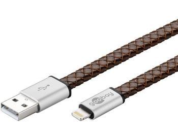 goobay Lightning iPhone nabíjecí a synchronizační kabel v pravé kůži, 8pin - USB A M/M, 0.2m