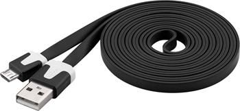 PremiumCord Kabel micro USB 2.0, A-B 2m, plochý PVC kabel, černý