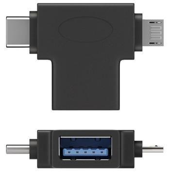 Adaptér USB3.0 female na dva konektory USB 3.1 C/male + micro USB B/male goobay