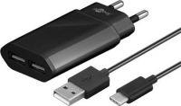 goobay Napájecí a nabíjecí adaptér 230V na 2x USB, 2,4A s USB Typu C kabelem 1m ,černý