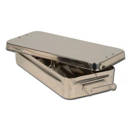 Nerezová kazeta s uchytem š 500 x h 200 x v 100mm pro parní sterilizátor Autoklave do 125°C Bmt