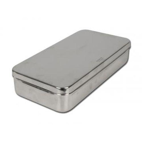 Nerezová kazeta s víkem š 180 x h 80 x v 40 mm pro parní sterilizátory Autoklace 100°C Bmt