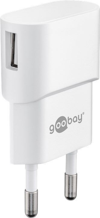goobay Napájecí a nabíjecí adaptér 230V na USB, max.1A, bílý