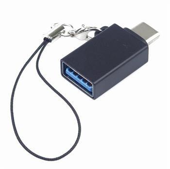 PremiumCord Adaptér USB-C male - USB3.0 A female, OTG, černý s očkem na zavěšení